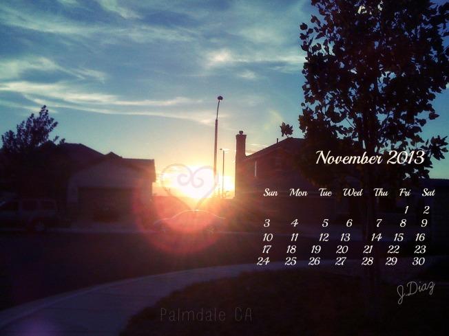 November 2013 calendar...